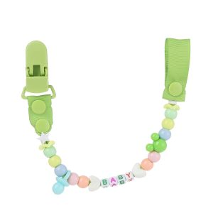 Simple Beaded Pacifier Clips - GREEN
