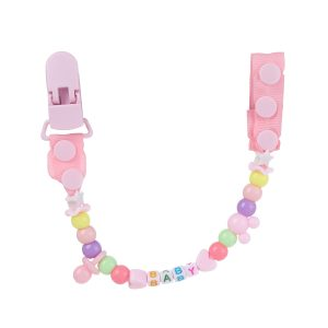 Simple Beaded Pacifier Clips - PINK