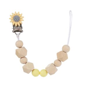 Classy Wooden Pacifier Clip - YELLOW