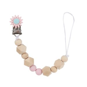 Classy Wooden Pacifier Clip - LIGHT PINK