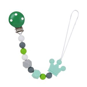 Sanya Multicolor Pacifier Clip- GREEN