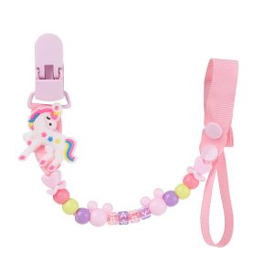 Cartoon Beaded Pacifier Clips - PINK UNICORN