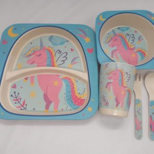 Bamboo tableware - Unicorn Pink and Blue
