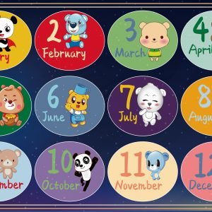 Months of the Year Design Play Mat / Rug / Carpet For Kids Room