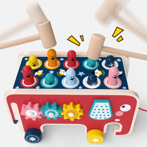 Wooden Knocking Toy - Pound a Peg Pull Along Elephant Bus