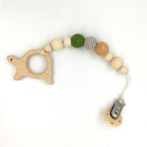 Wooden Eco-FriendlyTeether with Pacifier Clip - Tortoise
