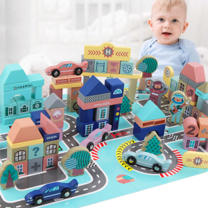 Multicolor Wooden Modern City Blocks Set 161 PCS -  Classic City Construction and Shapes Stacking Toy