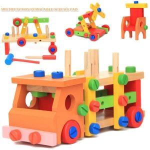 Wooden Multifunctional RemovableTools Set Assembling Activity Car