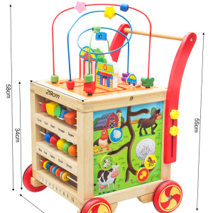 Wooden Baby Walker Trolley with Maze and Activity Cube